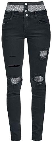 Jean Maille Fashion Jean Noir Noir Femme Empicements avec en Victim f6qpcqY4O