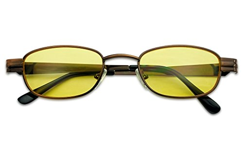 Retro Small 1990's Oval Rectangular Color Tone Tinted Narrow Metal Sunglasses (Copper Frame | Yellow)]()