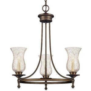 Grace 3-Light Rubbed Bronze Chandelier Rubbed Bronze - Brass 3 Light Chandelier