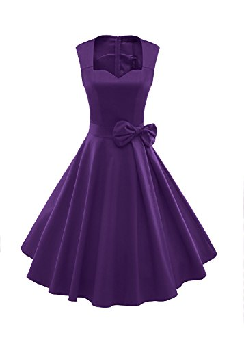 1950s Outfit Ideas (oppicong Women's 1950s Style Vintage Rockabilly Swing Bow-knot Party Dress PurpleX-Large)