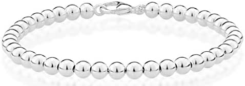 MiaBella 925 Sterling Silver Italian Handmade 4mm Bead Ball Strand Chain Bracelet for Women 6.5, 7, 7.5, 8 Inch Made in Italy