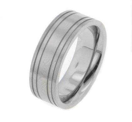 Quatro 4-Stripe Solid Aircraft Grade Titanium Wedding Band Ring Size - Grade Aircraft Titanium
