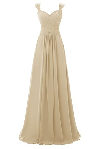 Topdress Women's Spaghetti Bridesmaid Sweetheart Prom Long Evening Gowns Champagne US 10