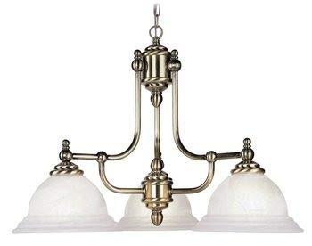 Livex Lighting 4253-01 North Port - Three Light Chandelier, Antique Brass Finish with White Alabaster Glass