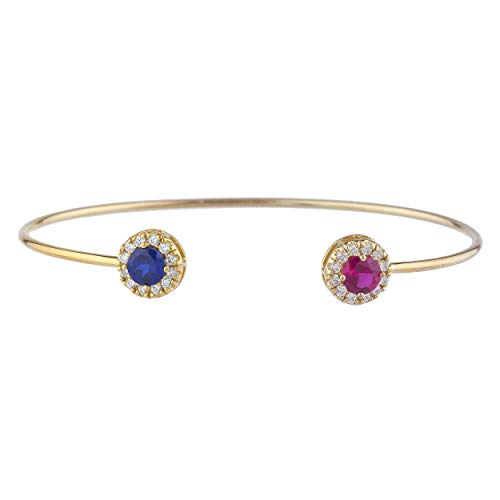 (Created Blue Sapphire & Created Ruby Halo Design Bangle Bracelet 14Kt Yellow Gold Rose Gold Silver)
