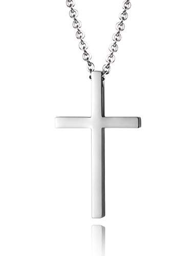 Reve Simple Stainless Steel Silver Tone Cross Pendant Chain Necklace for Men Women, 20''-22'' (Men:1.71.02'' Pendant+22'' Chain)