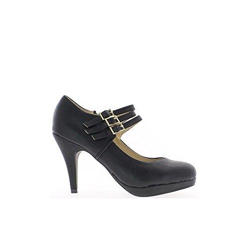 Schwarze Schuhe, Heels-9,5 cm-Flansche und Plattform
