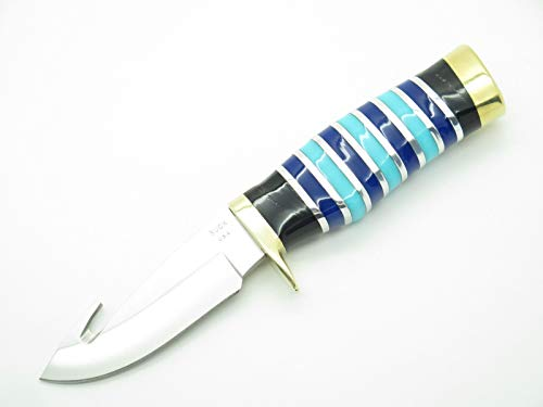 Buck Custom 686 Mini Zipper Vanguard Blue Lucite Fixed Blade Hunting Knife