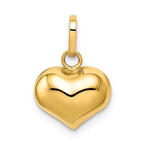 14k Yellow Gold Polished Puffed Heart Charm