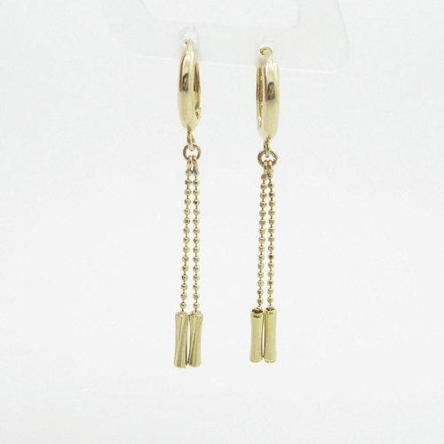 womens bp66 fancy earrings 14K yellow gold italian ball stud huggie hoop by IcedTime