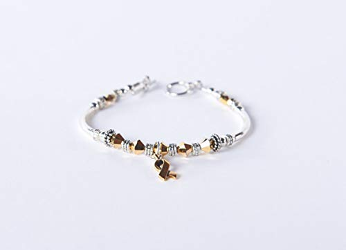 (Gold Ribbon Awareness Charm Bracelet: Childhood Cancer, COPD, Neuroblastoma, Hearing Disorders, Meniere's Disease // survivor, hope, support. #01)