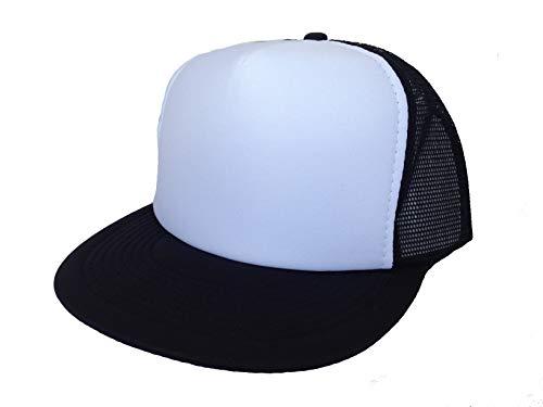 2 Packs Baseball Caps Blank Trucker Hats Summer Mesh Cap Flat Bill or Chambray Hats (2 for Price of 1) (5FBC Flat Bill Summer Mesh Cap (Black/White)) ()