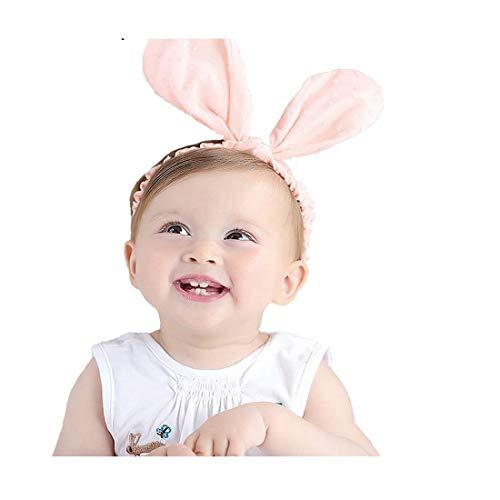 RQJ Baby Girls Rabbit Ear Headband Cute Bunny Elastic Headwrap Infant Headwear Turabn Hair Band Halo (Pink)