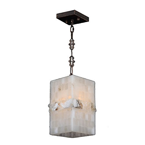 Worldwide Lighting W83814F6 Pompeii 1-Light Natural Quartz Mini-Pendant Square, Flemish Brass Finish by Worldwide Lighting (Mini Pompeii)