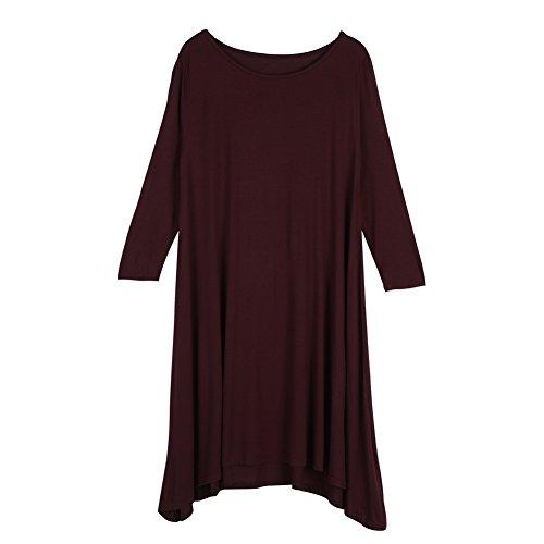 Robe Courte, Les Femmes 2colors Court Col Rond Trois Quarts Coton Plissé Bordeaux Robe Lâche M