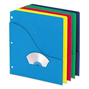 Wave Slash Pocket Project Folders, 3 Holes, Letter, Five Colors, 10/Pack, Sold as 10 Each