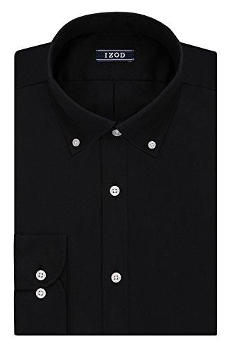 (IZOD Men's Slim Fit Solid Button Down Collar Dress Shirt, Black, 16