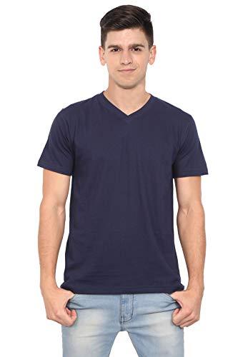OJASS Solid Men V Neck Dark Blue T Shirt