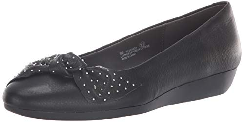 Aerosoles Women's Research Ballet Flat, Black Leather, 6.5 M US