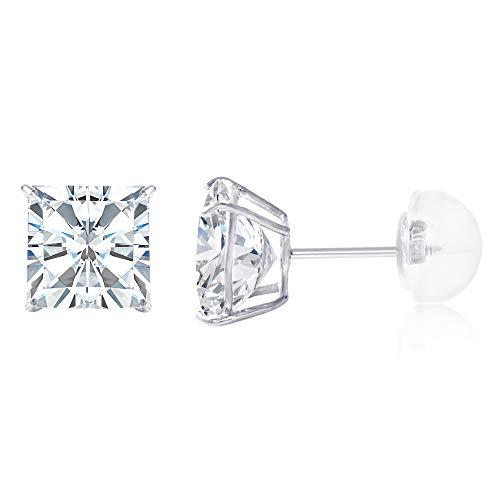 (Ioka - 14K White Gold Square Solitaire Princess Cut Cubic Zirconia CZ Stud Push Back Earrings - 1.25ct (6mm))