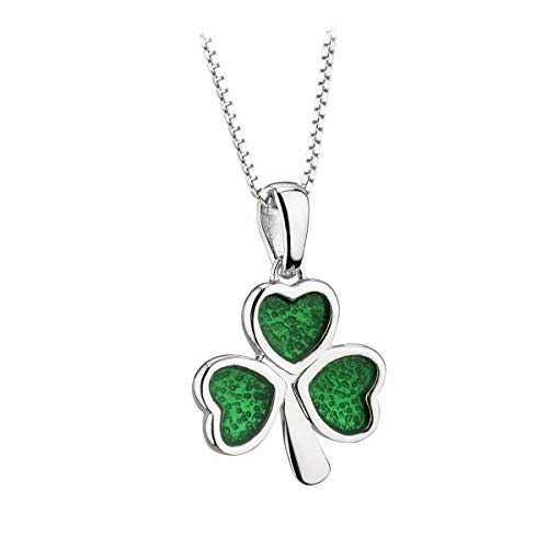 Jewelry Solvar Shamrock Necklace Sterling Silver Green Enamel Made in Ireland