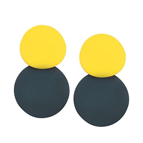 iloveu Round Dangle Earrings Layered Circular Alloy Drop Hoops Earrings For Wome (Yellow-Green)