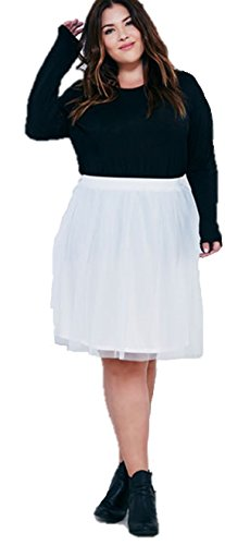 Curves Required Plus Size Tulle Midi Tutu Skirt (2X, Ivory)