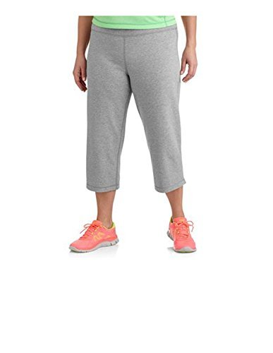 Danskin Now Womens Plus-Size Dri-More Relaxed Capri Pants Gym Walking Yoga Run Errands (2X, Gray) (Capris Danskin)
