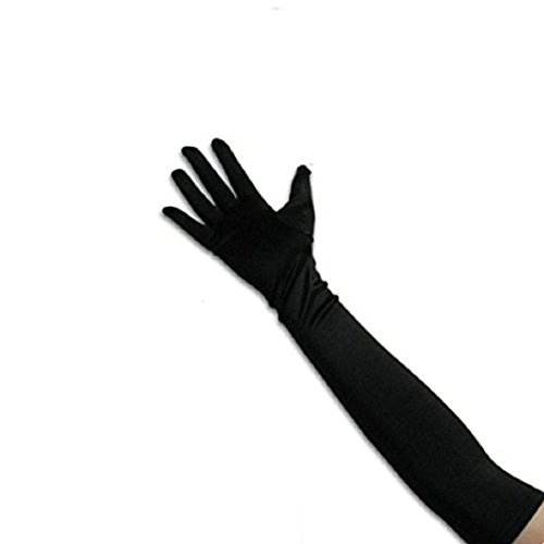 lt Size Long Opera/Elbow/Wrist Length Satin Gloves (Black) (16 Inch Satin Gloves)