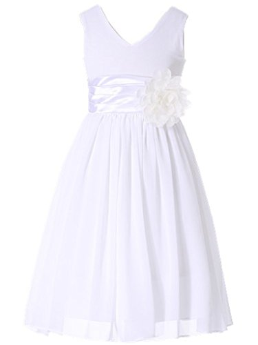 (Bow Dream Flower Girl Dress Junior Bridesmaids V-Neckline Chiffon White)