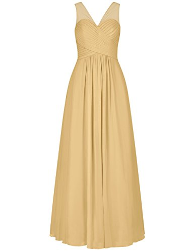 (EDressy V-Neck Chiffon Bridesmaid Dresses Long Evening Formal Gowns Wedding Party Prom Dress Gold US 4)