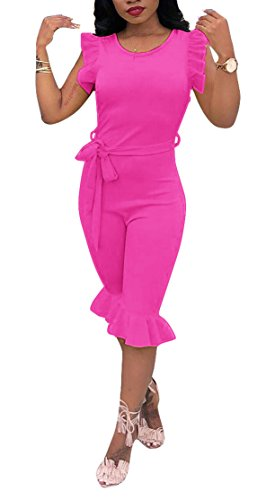 OLUOLIN Womens Ruffled One Piece Outfits Sleeveless Bodycon Short Shorts Party Clubwear Rose Red ()