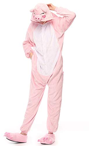 LmeiKKWomen's Cosplay Flannel Anime Cartoon Onesie Adult Pajamas(S, Pink pig)