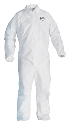 A40 Coveralls With Zipper, Disposable, Elastic Cuff, White- Case of 25