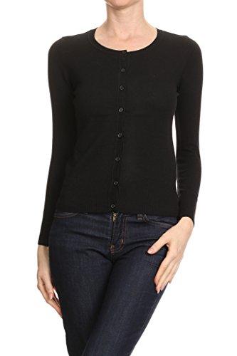 2ND DATE Women's Crewneck Button Front Long Sleeve Cardigan - Cuff Button Cotton Sweater