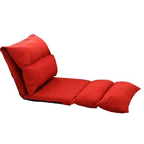 怠惰なソファシングル畳のラウンジャーの窓窓寮の背もたれの床なし脚椅子折りたたみ怠惰なベッド B07SY721BL Red