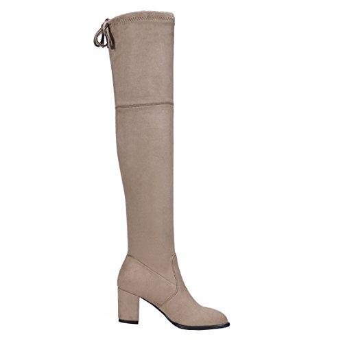 Aiyoumei Dames Suède Mode Veterschoenen Blokhak Herfst Winter Stevig Over De Knie Elastische Stoffen Laarzen Kaki