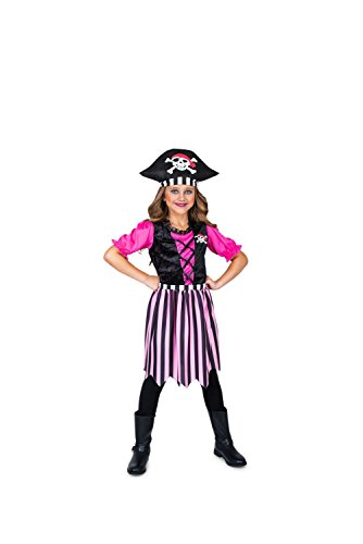 Girl Pirate Costume, Pink Dress with Black Pirate