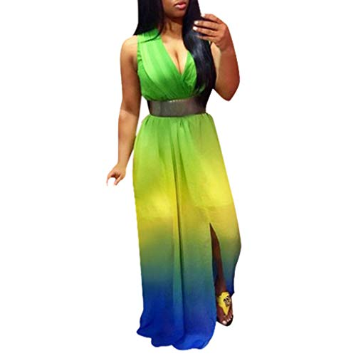 (LEERYAAY Coverup&Top Women Summer Boho Long Maxi Dress Evening Party Beach Dresses Green)
