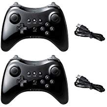 Poulep Wireless Controller Compatible with Nintendo Wii U Pro Console - Bluetooth Gamepad Joystick Dual Analog with USB Charging Cable(Black and Black)