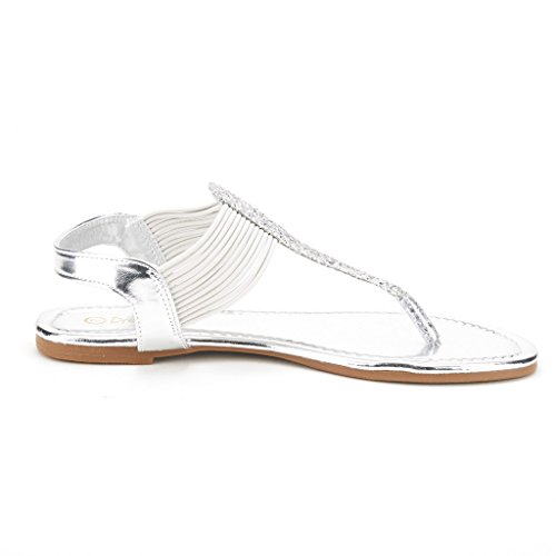 b6291ef6171dca DREAM PAIRS SPPARKLY Women s Elastic Strappy String Thong Ankle Strap  Summer Gladiator Sandals Silver Size 10