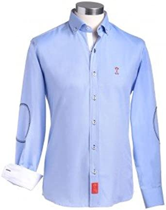 Camisa manga larga hombre SEMIENTALLADA azul con coderas e interiores combinados en blanco - Color - Azul Claro, Talla Letras - 6_2XL: Amazon.es: Ropa y accesorios