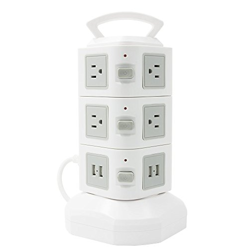 Linko Multi-Functional CE listed Extension Cord, Power Strip, Charging Station Tower: 10-Outlet Surge Protector with 4 USB Charging Ports Overload Protection, 6.5 Feet Cord. 3 Tiers Tower White (Surge Outlet 10 Suppressor)