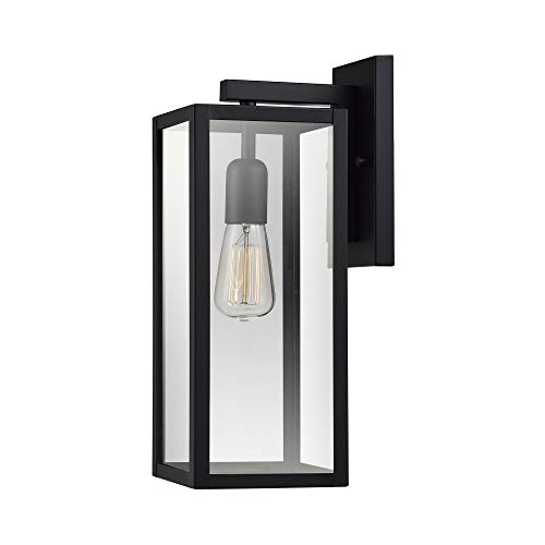 Globe Electric 44176 Bowery 1-Light Outdoor Indoor Wall Sconce, Matte Black, Clear Glass Shade (Outdoor Fountain Modern Wall)