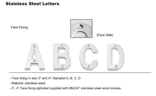 INOX LTIXF3A-32 3-Inch Letter''A'' Face Fixing, Polished Stainless Steel