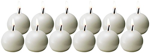 Biedermann & Sons Ball Candles, 1.5-Inch, White, Box of 12