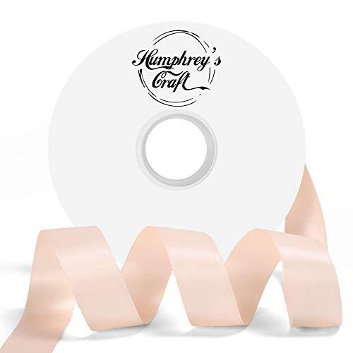 Humphrey's Craft 1-inch Double Face Solid Satin Ribbon 100% Polyester Ribbon Roll-50 Yard (Petal Peach)