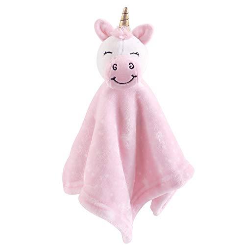 Hudson Baby Animal Friend Plushy Security Blanket, Pink Unicorn, One Size