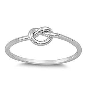 .925 Sterling Silver Plain Love Heart Knot Ring Sizes 3-12 (Three Colors)