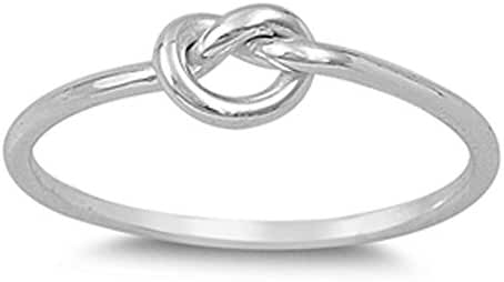 .925 Sterling Silver Plain Heart Knot Ring Sizes 3-12 (Three Colors)